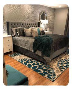 DIY Metallic Bedroom Accent Wall using Tea House Trellis Stencil from Cutting Edge Stencils Tutorial Dream Rooms, Dream Bedroom, Home Bedroom, Bedroom Furniture, Modern Bedroom, Furniture Ideas, Furniture Design, Warm Bedroom, Pretty Bedroom