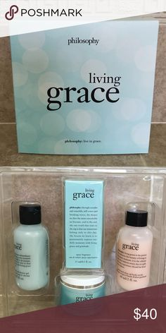 Living Grace Set Brand New in Box Living Grace Set. Ready for travel or gift giving!! Includes 2oz of the shower gel, 2oz of the perfumed olive oil scrub, 1oz of whipped body Creme, and .5oz of the spray fragrance. It's a great set!! Philosophy Other