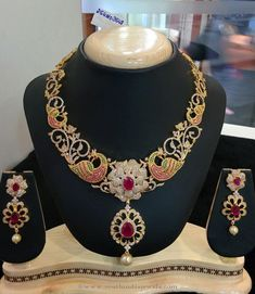 1 Gram Gold Bridal Stone Necklace from Vanathi