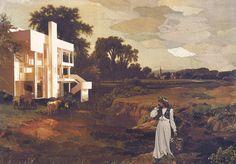 perspectival collage ... deluje kot vizualizacija objekta v stilu stare oljne slike