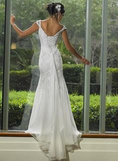 Empire Waist Cap Sleeves Scoop neck Embroidered Beaded Chiffon Mermaid Wedding Dresses
