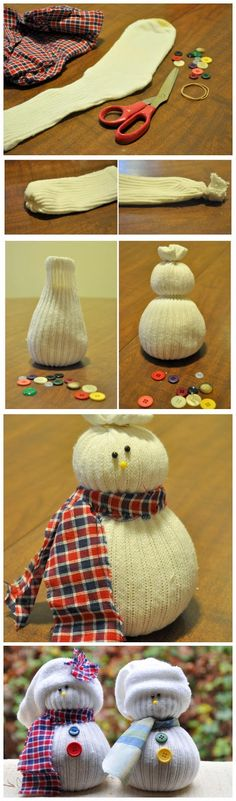 DIY Sock Snowmen ... Fun and simple winter craft for children.