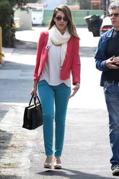 how to mix two bold colors for one unexpected daytime look, pairing bright blue Sanctuary's The Charmer Skinny Jeans ($147) with a slouchy white tee and gauzy scarf, then topping it with a red blazer.