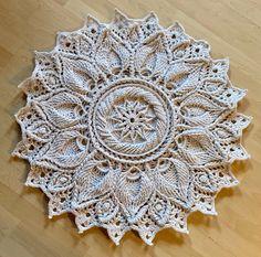 "Crochet carpet ""Ulita"" - lotus round - pattern carpet in - optics - relief - overlay - raw white and light grey Crochet Carpet, Crochet Home, Lotus, Tapestry Curtains, Purple Door, Foot Massage, Kokeshi Dolls, Patterned Carpet, Overlays"