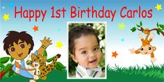 Go Diego Go Birthday Banner with photo. Go Diego Go, Personalized Birthday Banners, Happy 1st Birthdays, Party Banners, 2nd Birthday Parties, Party Time, Hello Kitty, Kids, Party Ideas