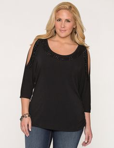 $49.95 Embellished Cold Shoulder Top from Lane Bryant