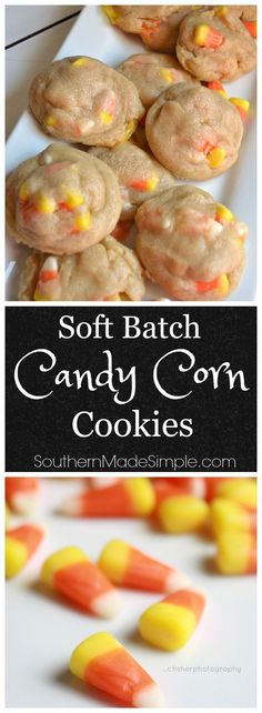 If you're a candy corn fan, you're definitely going to want to try this! This recipe makes the most delicious soft & chewy cookies - and they're perfect to make for a sweet Halloween treat! #cookieswappingood