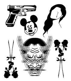 Black Tattoos, Body Art Tattoos, New Tattoos, Hand Tattoos, Small Tattoos, Sleeve Tattoos, Tattoo Flash Sheet, Tattoo Flash Art, Tattoo Sketches