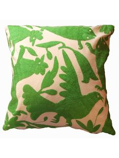 Otomi Pillow Lime Green by JACARANDA