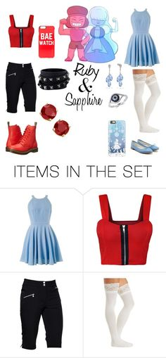 """""""Ruby and Sapphire (Steven Universe)"""" by ladyspamsalot ❤ liked on Polyvore featuring art, universe, ruby, sapphire and steven"""