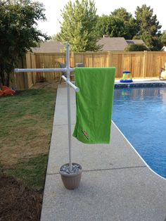 Home made towel rack for pool using PVC pipe