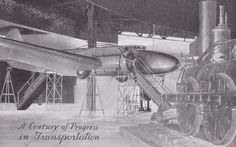 Century of progress in Transportation, Airplane & Train, Expo,Chicago,Il, 1930s