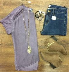 Casual Friday ready!  #xoxoAL4You #CasualFriday #ootd #booties #denim #bracelets #shoplocal #apricotlane A Little Laced Shoulder Tee $36 Taupe Flat Booties $39 Comment or click to order! http://form.jotform.us/form/52044697810154