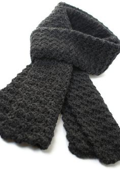 Extra Long Scarf Heather Grey Crochet by pigswife on Etsy, $29.00