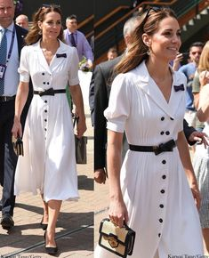 HRH The Duchess of Cambridge July The Duchess is attending The Championships at Wimbledon as Patron of the All England Lawn Tennis and Croquet Club Princess Anne, Princess Charlotte, Duchess Kate, Duke And Duchess, Kate Middleton, British Royal Families, Miranda Kerr, Royal Fashion, Dress Outfits