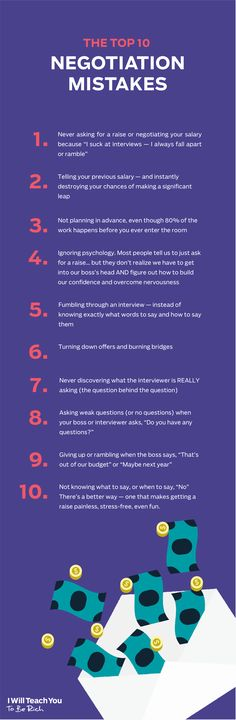 The Top 10 Negotiation Miskates (From The Ultimate Guide To Asking for a Raise / I Will Teach You To Be Rich)