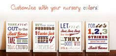 Items similar to Take me out to the ballgame art print series set of 4 digital prints featuring baseball song lyrics you choose colors printable on Etsy Baseball Nursery, Take Me Out, Client Gifts, Baby Boy Nurseries, Boy Room, Baby Love, New Baby Products, Digital Prints, Baseball Sayings