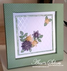 Watch my YouTube videos on how to make this adorable Shadow Box. Lavender Thoughts | Annette Sullivan | Stampin' Up! Flourish Wasabi Shadow Box