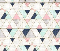 Mod Triangles Navy Mint Pink fabric by crystal_walen on Spoonflower - custom fabric