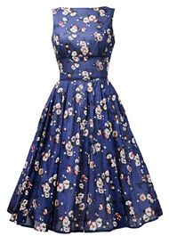 50s Boat Neck Dress - blue