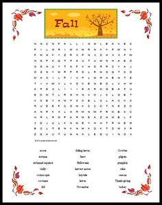 fall themed word search printable | The Homeschool Classroom