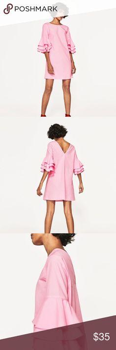 New Zara Frilled Sleeve Dress New Zara Frilled Sleeve Dress Zara Dresses Long Sleeve