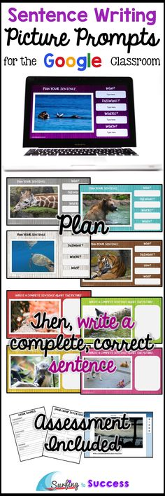 Can your students write complete sentences? Students type a sentence while responding to picture prompts. A planning prewrite page is provided. Picture prompts and graphic organizers work as sentence starters helping kids build simple sentences. After yo Google Classroom, Classroom Ideas, Classroom Organization, Classroom Management, Apple Classroom, Classroom Tools, Future Classroom, Esl, English Language Learners