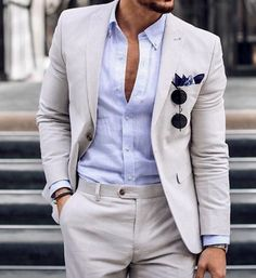What a stunning example of the perfect dapper summer men's tan linen suit. Pair it with a custom made blue dress shirt by Giorgenti New York! New Mens Fashion, Mens Fashion Suits, Male Fashion, Linen Suits For Men, Blue Linen Suit, Dope Outfits For Guys, Casual Outfits, Men Dress Up, Smart Casual Menswear