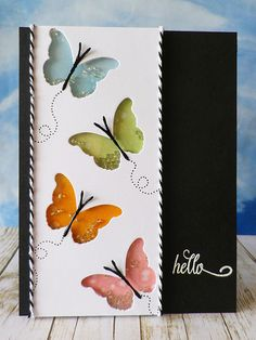 Stamping and stitching: Butterfly Hello shaker card Pretty Cards, Cute Cards, Diy Cards, Card Making Inspiration, Making Ideas, Beautiful Handmade Cards, Butterfly Cards, Butterfly Cutout, Shaker Cards