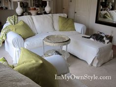 how to slipcover a sofa---maybe this will prolong my couches that i HATE so much!