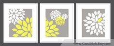 SET OF 3 - Flower Print, 8x10 Per Print, Combination wall art, Custom Colors, Wall decor, Grey and Yellow, on Etsy, $55.00