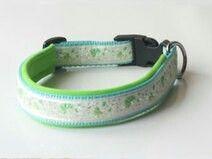 Hundehalsband nach Maß. Gefertigt aus türkisem Gurtband, hellgrünem Neopren und einer aufgenähten Borten. Preis: 16,95 € Shop-Link: http://de.dawanda.com/product/49379018-Hundehalsband