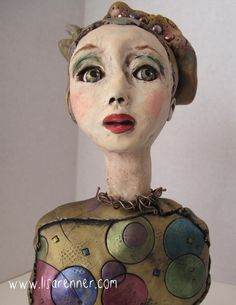 Polymer clay Art Doll by Lisa Renner. Hand painted glass eyes.
