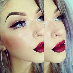 Goth retro red dark lip winged liner makeup