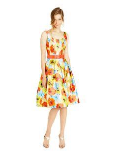 Multi Impasto Floral Silk Mikado A-Line Dress