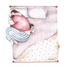 hombre grande y niña acostada en la cama