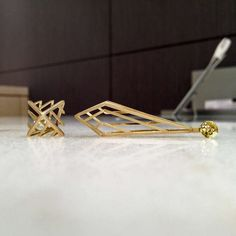 Three Dimensional Gold Prism Cage Earrings 4