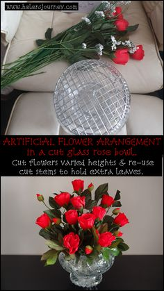 Click to read DIY Artificial Flower Arranging Tutorial: bouquet of red roses in a cut glass rose bowl! #flowerarranging #faleflowers #fauxflowers #artificialflowers #artificialflowerarranging #DIY #DIYhomedecor #flowers #redroses #bouquet #flowerarrangingtutorial #stepbystepflowerarranging Fake Flowers, Artificial Flowers, Christmas Time, Christmas Wreaths, Smelling Flowers, Room Color Schemes, Ribbon Bookmarks, Diy Bouquet, Rose Bowl