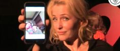 Gillian texts David for a selfie and he responds about 2 seconds later. Her smugness.