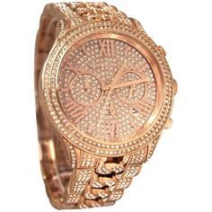Pre-owned Brand New Michael Kors Lindley Rose Gold Tone Glitz... ($425) ❤ liked on Polyvore featuring jewelry, watches, accessories, rose gold, chrono watches, pre owned watches, rose gold tone jewelry, preowned jewelry and chronograph wrist watch