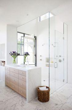 In bathroom, bathroom renos, bathroom interior, modern bathroom, shower bat Bathroom Renos, Bathroom Interior, Modern Bathroom, Small Bathroom, Master Bathroom, Bathroom Ideas, White Bathroom, Shower Ideas, Master Shower