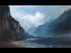(6) How to paint Mountain Water and Cloud Digital painting tutorial environment concept - YouTube