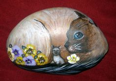 Siamese Cat  w pansies & kitten painting on a hand painted rock - art - C Michel
