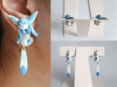 handmade glaceon pokemon out of pearl polymer clay. on sale at: https://www.etsy.com/listing/161474999/glaceon-eeveelution-pokemon-earrings
