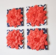 Flower Wall Hangings SET of FOUR Coral Dahlias on Navy by bedbuggs