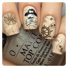 Matte Pirate nails ⚓️ OPI My Vampire Is Buff stamped using Bundle Monster BM-301, BM-507, BM-508, BM-509, and BM-510 in Butter London Yummy Mummy, Zoya Codie, Bundle Monster Angelic White, and Bundle Monster Noir Black.