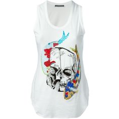 Alexander McQueen embellished fish skull tank top (37,985 INR) ❤ liked on Polyvore featuring tops, white, skull tank tops, white tank, racer back tank top, racerback tank and racer back tank