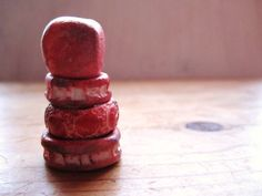 4 Strawberry Pink Red Aged Beads Handmade Porcelain Ceramic Clay Stacked Spacers No.54. £8.50, via Etsy.