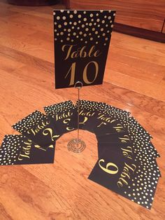 INVENTORY Vertical Table Card Numbers 1 10 Elegant Gold and Black Double Sided Hollywood