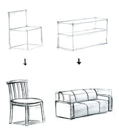 Draw a 3D box then draw the couch/chair in the 3D box